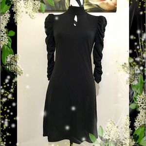 I.N.C. Ruched Sleeve Mock Neck Black Dress
